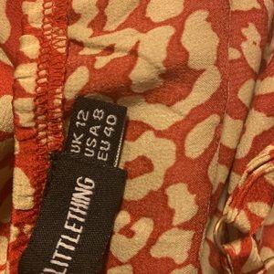 Red Leopard Print Frill Hem Midi Dress - PLT